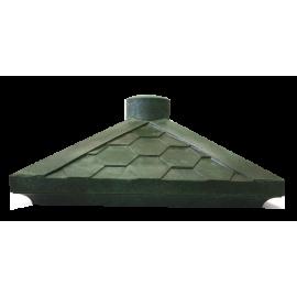 Колпак на кирпичную кладку полимерно-песчанные с фонарем 385х385 (черепица)